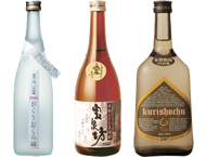 Kuri (chestnut) shochu Okuri okura / Hadaka mugi (Naked barley) shochu Hosenbo / Kuri (chestnut) shochu Himebayashi (Long-term aged for over five years)